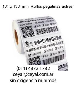 181 x 138  mm  Rollos pegatinas adhesivas